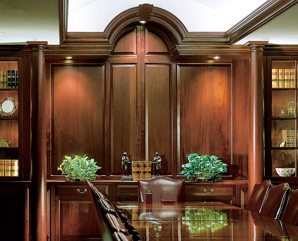 Stained Smooth Tuscan Columns in Conference Room
