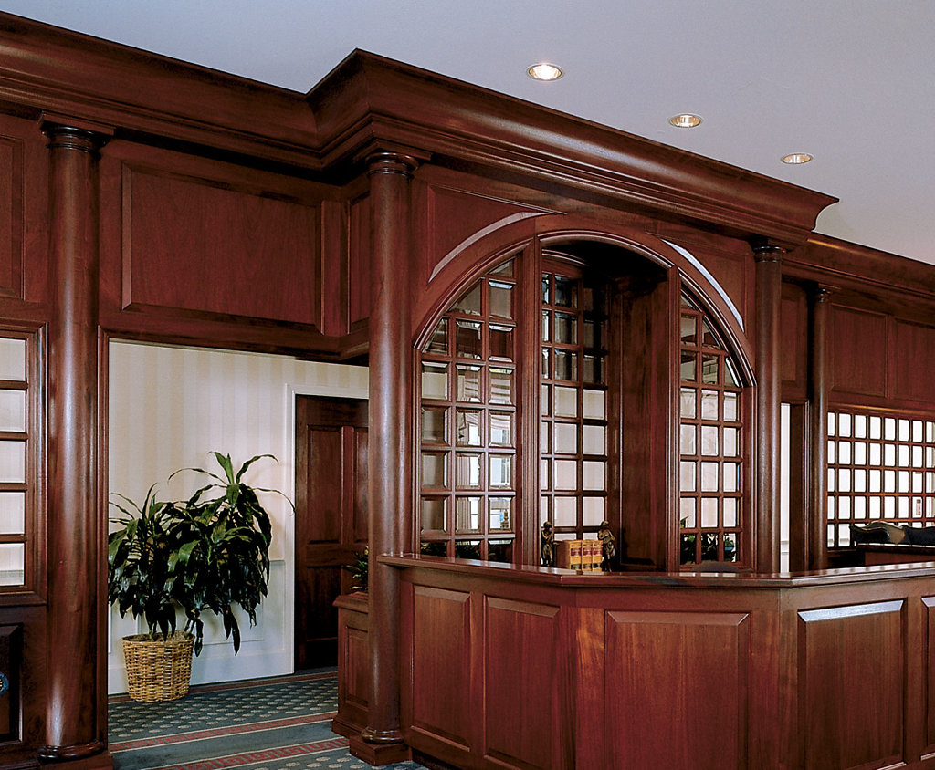 Stained Tuscan Wood Columns in a Conference Room