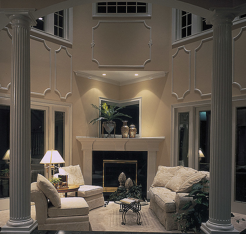Fluted Tuscan PolyStone® Columns in a Living Room
