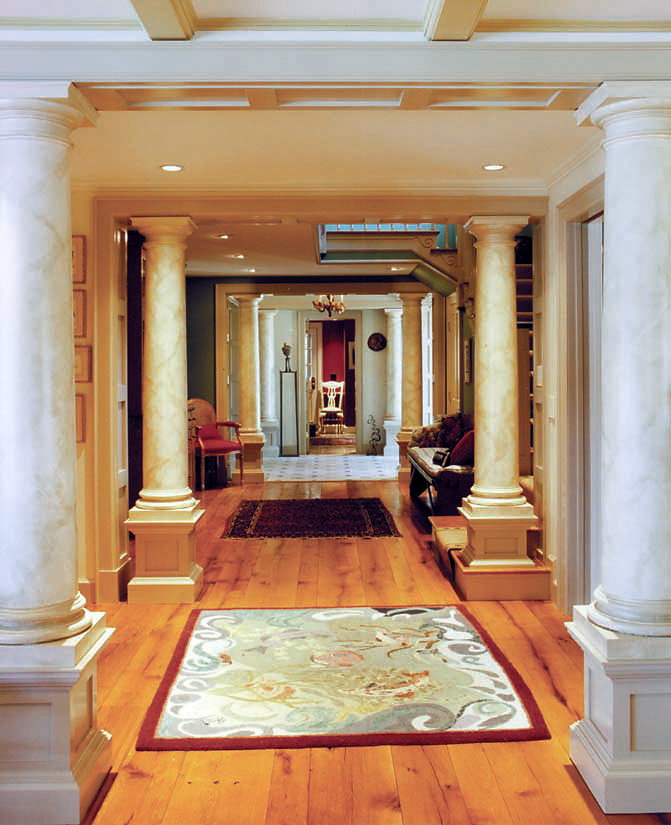 Faux Marble Doric Columns in Hallway
