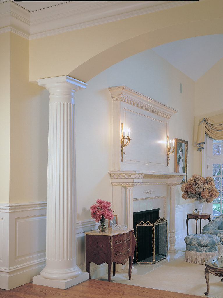 Fluted Doric Column in a Living Room