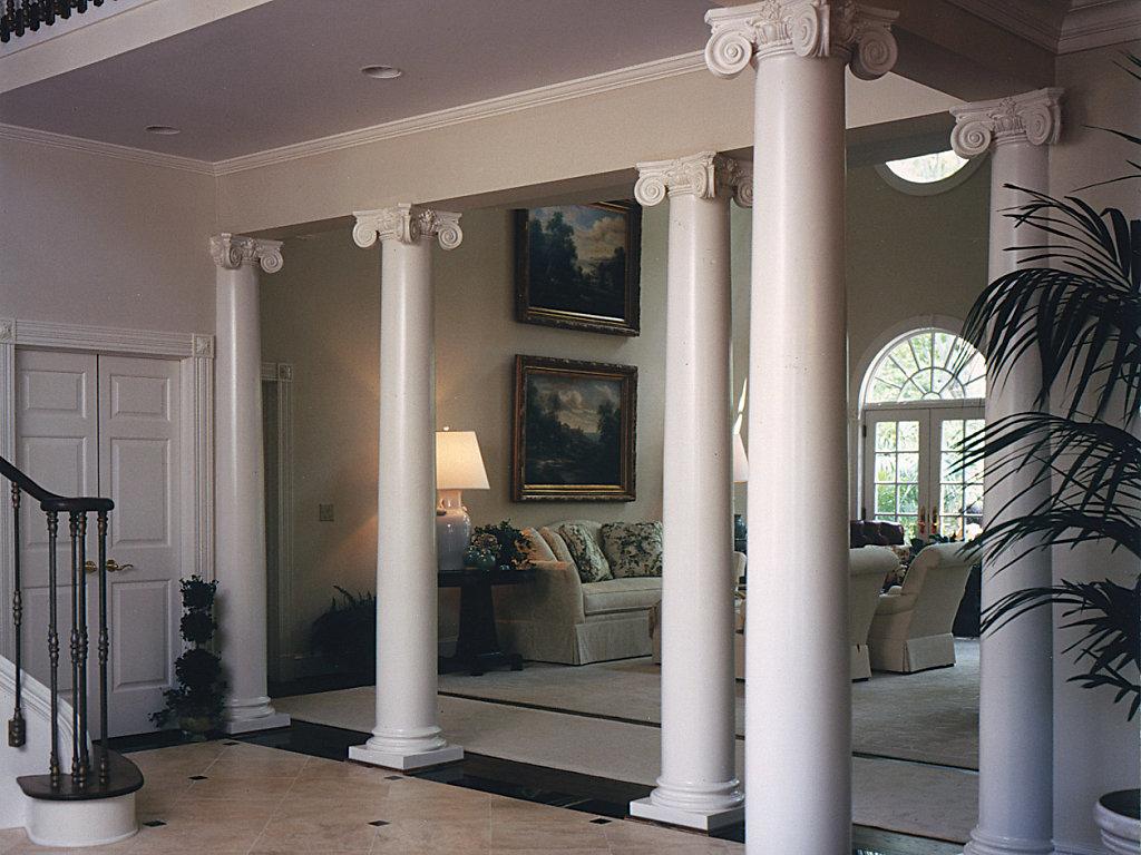 Wood Scamozzi Columns in a Foyer