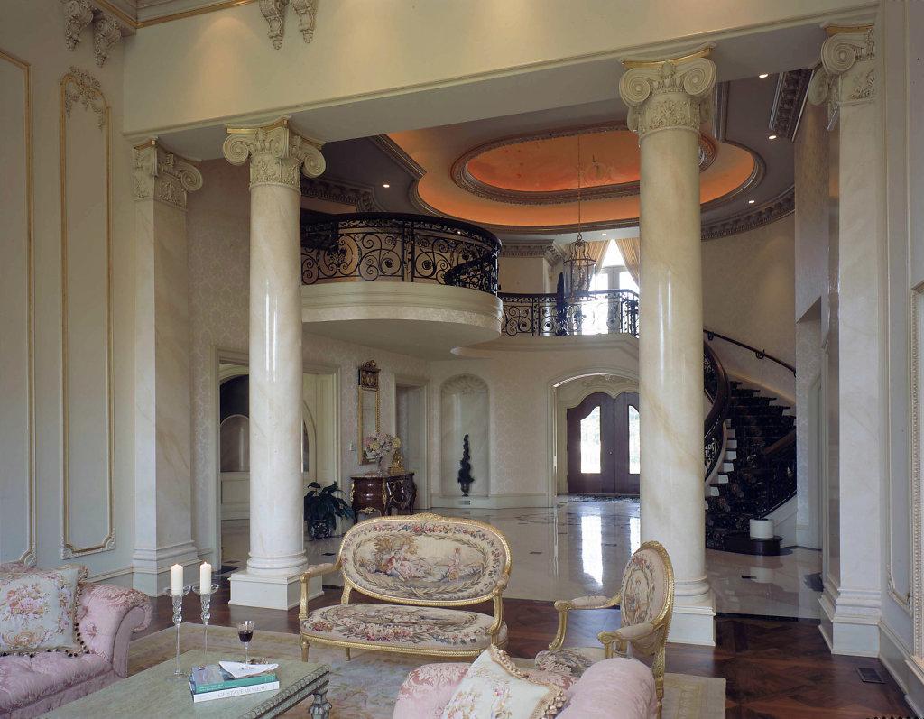Angular Ionic Columns in Living Room
