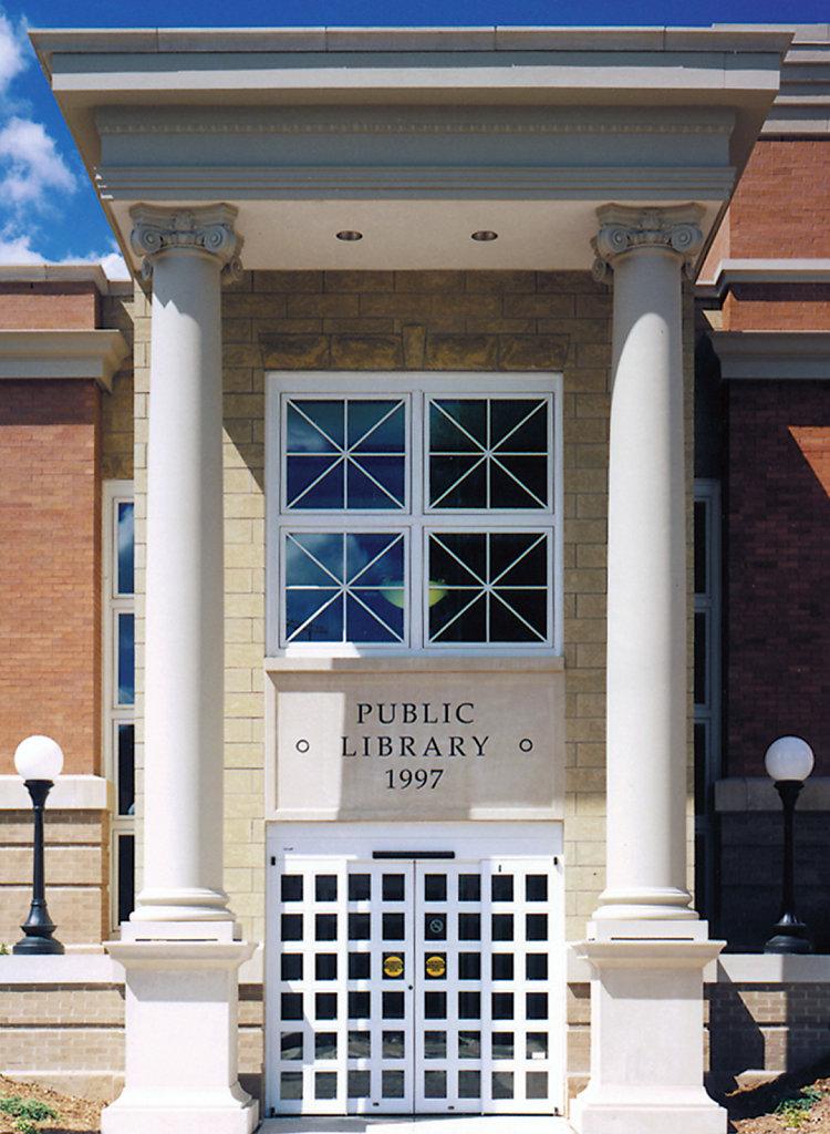 Scamozzi style Columns Supporting Eave of Oskaloosa Public Library, Oskaloosa, Iowa