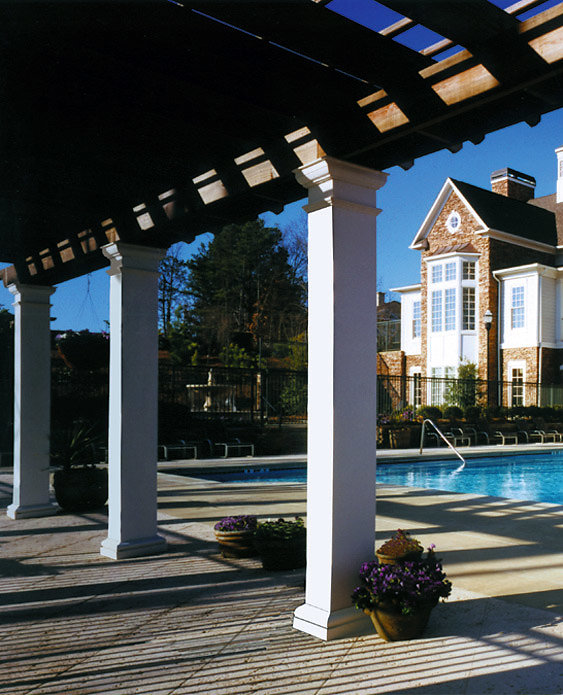 A Pergola with Square Columns Poolside