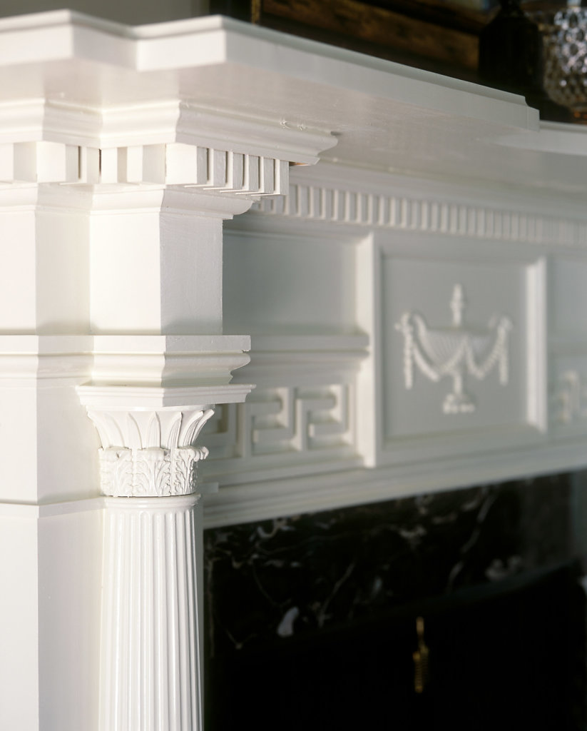 Corinthian Decoration on a Mantel in Chadsworth Cottage