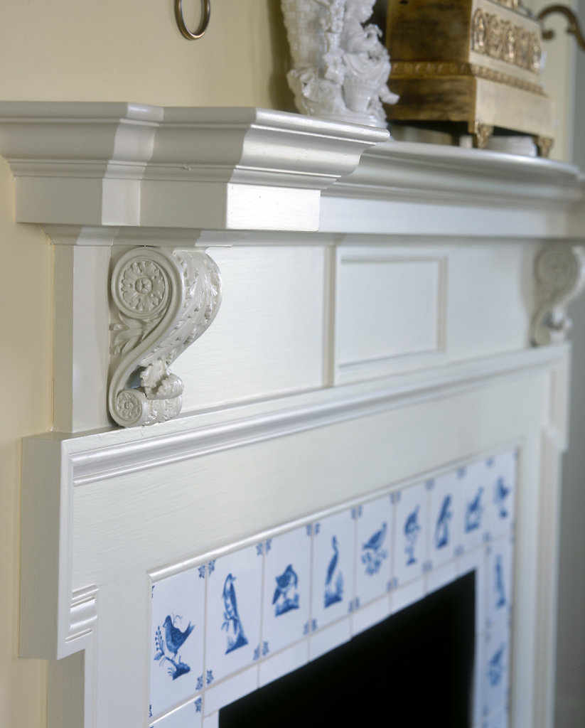 Acanthus Corbels on a Mantel in Chadsworth Cottage