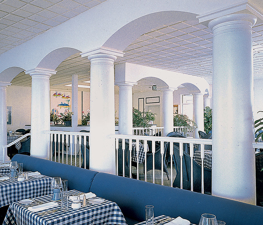 White Tuscan Columns in a Restaurant