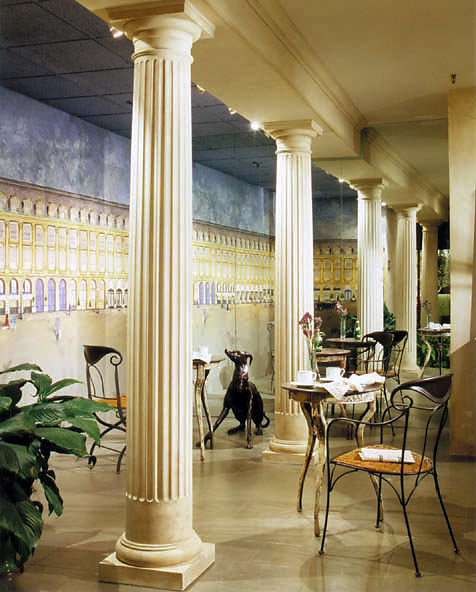Fluted Tuscan Columns in a Sitting Area