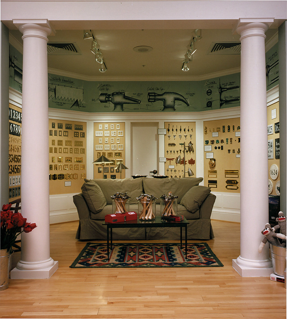 White Tuscan Columns in a Hardware Store