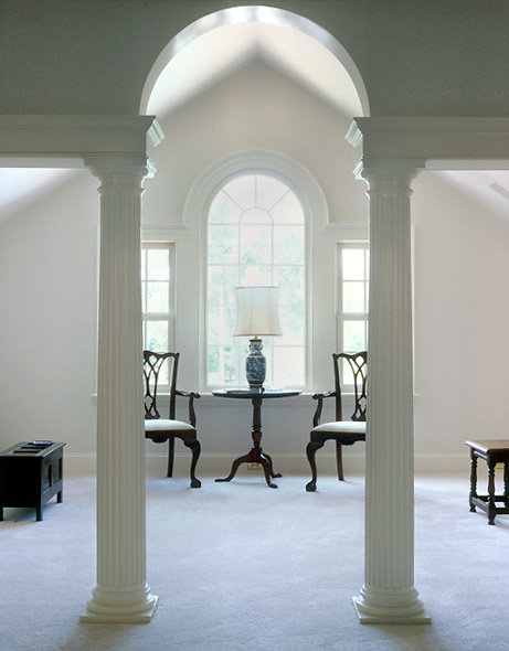 Fluted Tuscan Columns in a Guest Bedroom