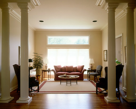 White Fluted Tuscan Columns in Living Room