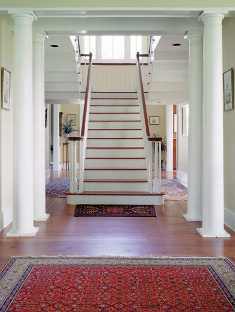 White Tuscan Columns in Foyer