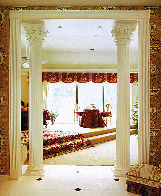 Fluted Corinthian Columns in Bathroom Entryway