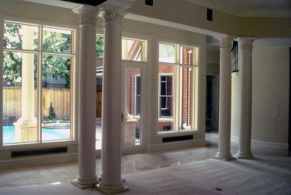 White Corinthian Columns in Living Room