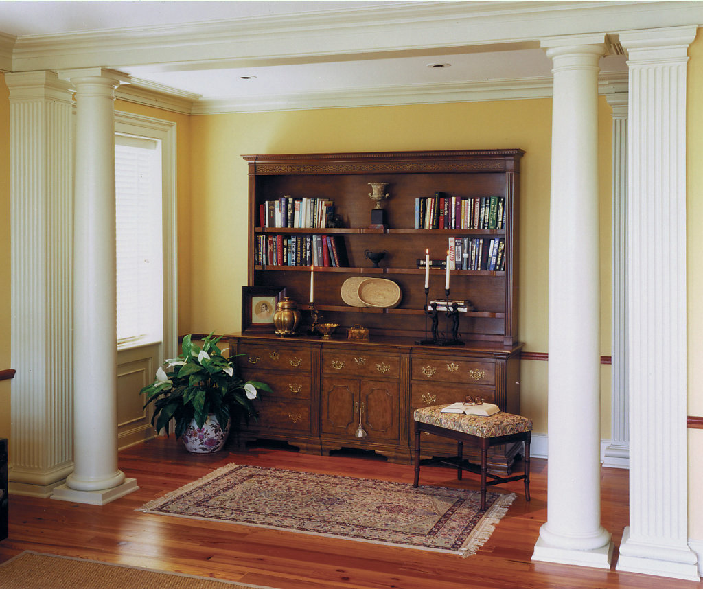 Two Smooth White Columns and Two Tapered Square Columns