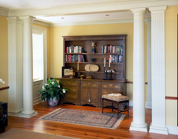Two Types of Tuscan Columns in a Bedroom