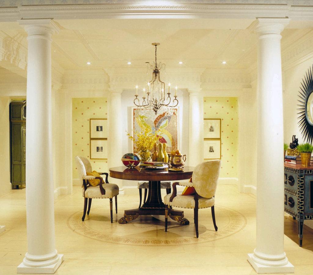 Roman Doric PolyStone® Columns in a Dining Room