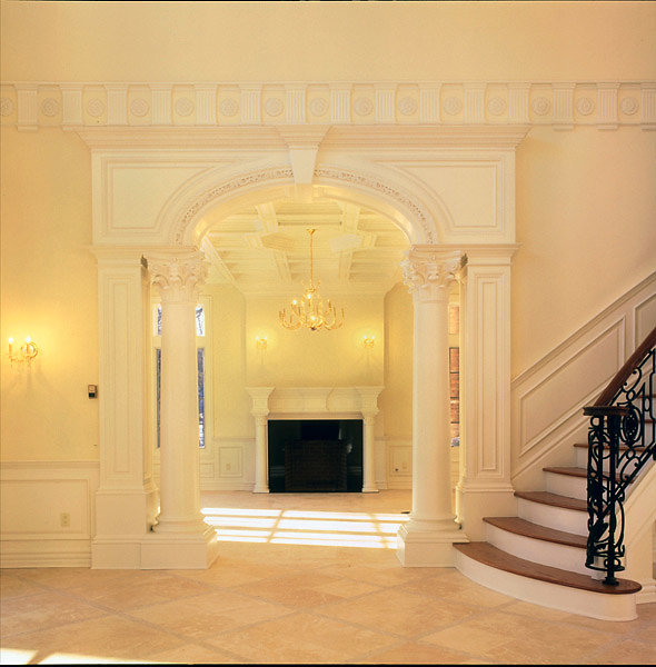 Smooth Corinthian Columns in Foyer